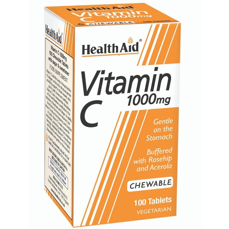 HEALTH AID Vitamin C 1000mg with Rosehip & Acerola - 100 Μασώμενες Ταμπλέτες