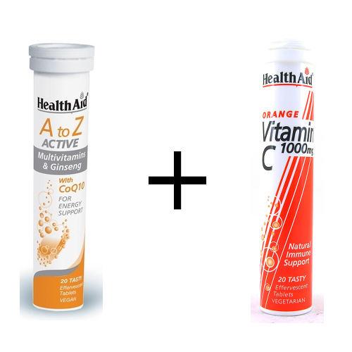 HEALTH AID 1+1 Δώρο - A to Z Πολυβιταμίνη με Τζίνσενγκ & Συνένζυμο Q10 (20 Αναβράζοντα Δισκία ) + Vitamin C 1000mg (20 Αναβράζοντα Δισκία )
