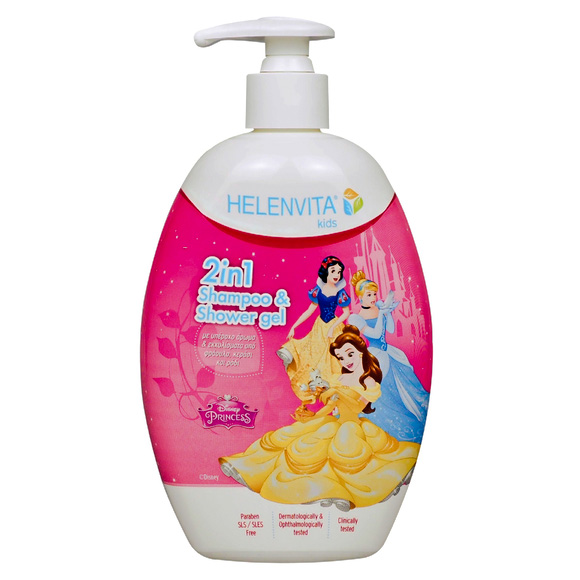 HELENVITA Kids Princess 2 in 1 Shampoo & Shower Gel with Lovely Fragrance and Strawberry Cherry and Pomegranate Extracts 500ml