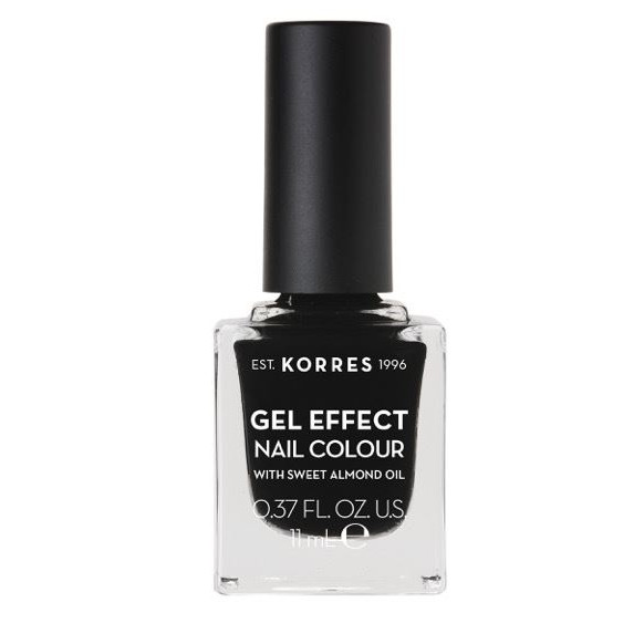 KORRES Gel Effect Nail Colour 100 Black  Με Αμυγδαλέλαιο 11ml