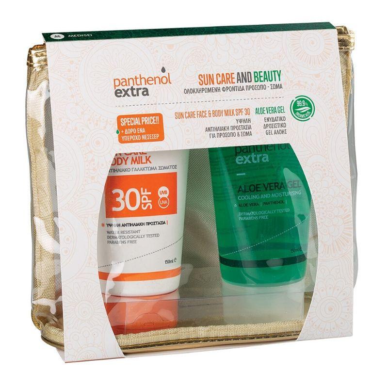PANTHENOL EXTRA Σετ Sun Care & Beauty, Face & Body Milk SPF30 - 150ml & Aloe Vera Gel - 150ml