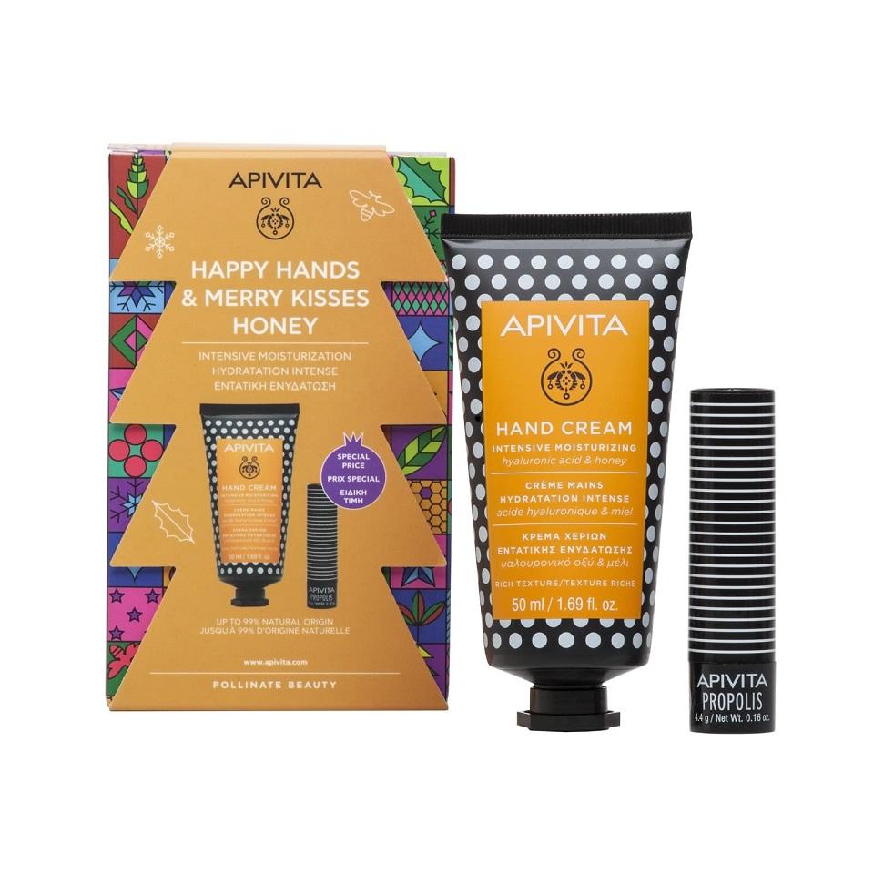 APIVITA Σετ Happy Hands & Merry Kisses Honey, Κρέμα Χεριών Εντατικής Ενυδάτωση - 50ml & Lip Care με Πρόπολη - 4,4g