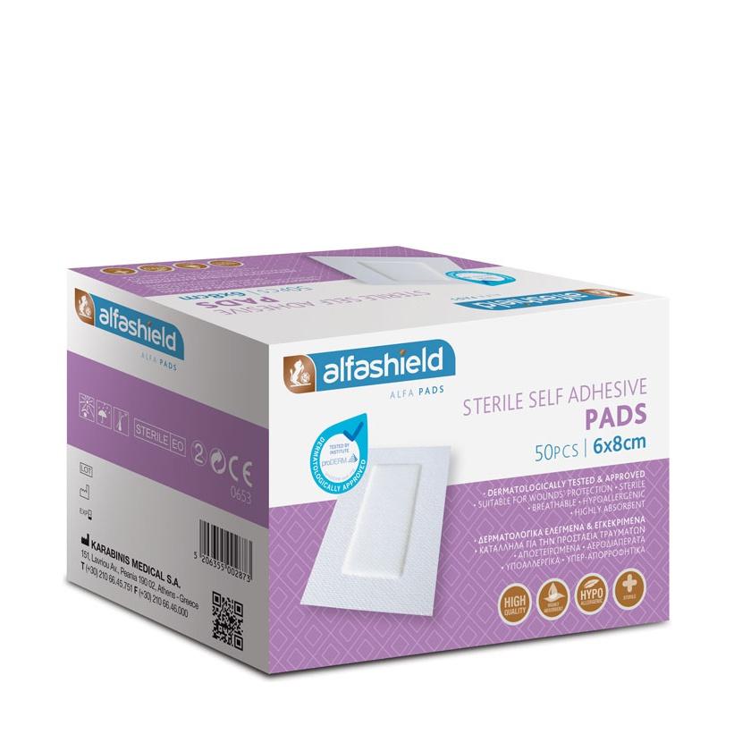 ALFASHIELD Self Adhesive Pad, Αποστειρωμένα Αυτοκόλλητα Επιθέματα 6cmx8cm - 50τμχ