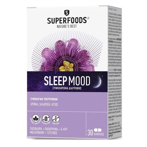 SUPERFOODS Sleep Mood, Συμπλήρωμα για Αϋπνία, Άγχος - 30 κάψουλες