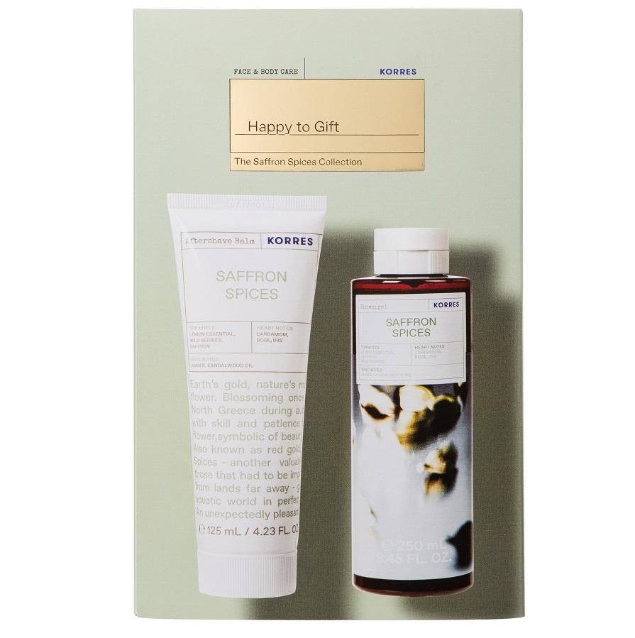 KORRES Σετ Αφρόλουτρο Saffron Spices - 250ml & Γαλάκτωμα για μετά το Ξύρισμα - 125ml