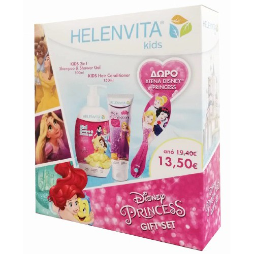 HELENVITA Kids Disney Princess Gift Set, Shampoo & Shower Gel - 500ml, Hair Conditioner- 150m & ΔΩΡΟ Xτένα