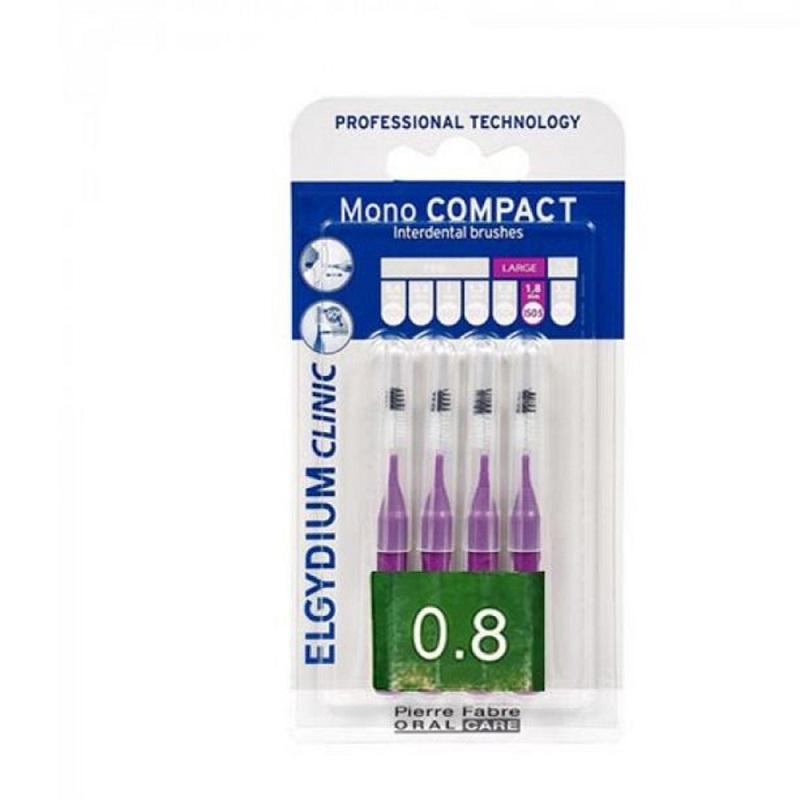 ELGYDIUM Clinic MonoCompact 0.8 Μωβ Μεσοδόντια Βουρτσάκια 4τμχ