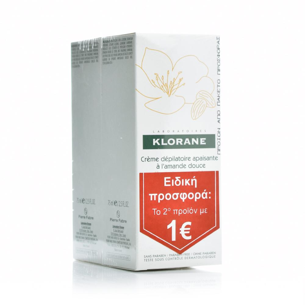 KLORANE Creme Depilatoire Apaisante, Αποτριχωτική Κρέμα για Πρόσωπο & Ευαίσθητες Περιοχές - Το 2ο Προϊόν 1€, 2 x 75ml