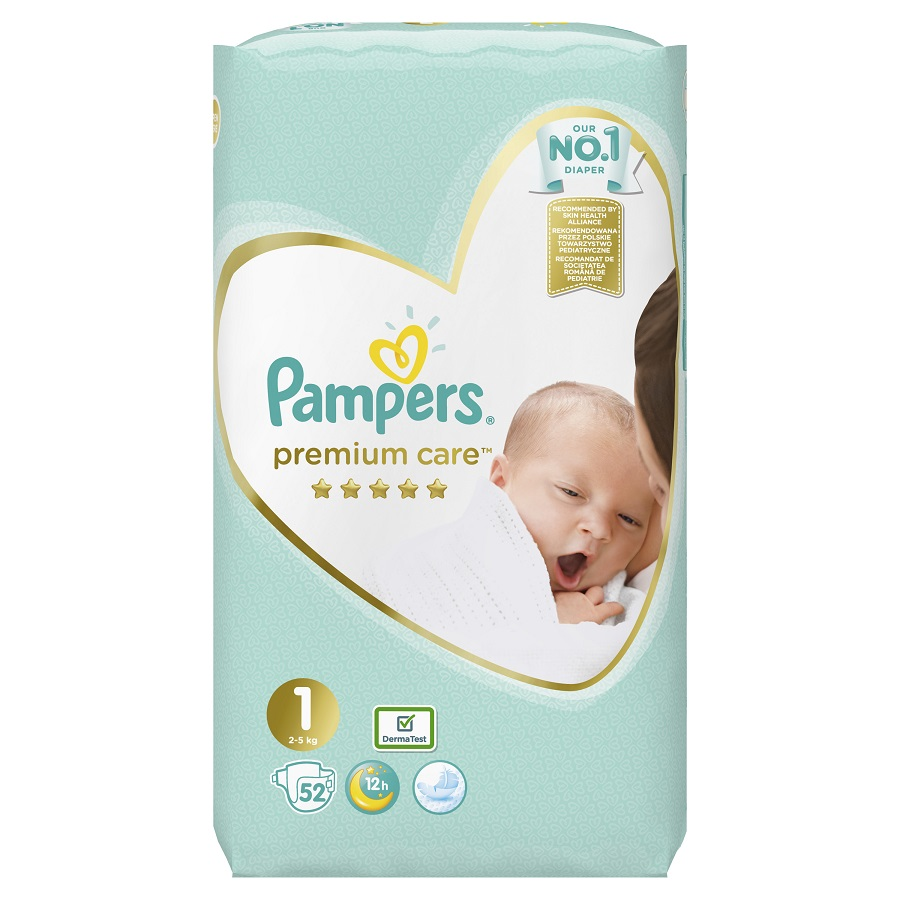 PAMPERS Premium Care Νo 1 (2-5kg) - 52τεμ