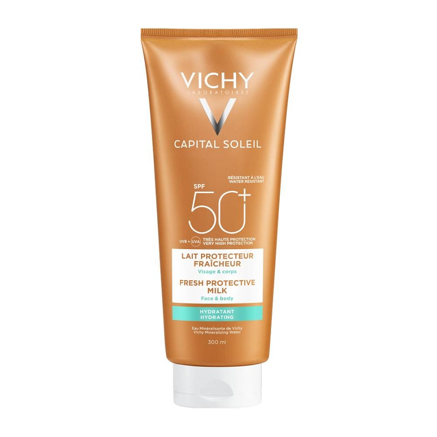 VICHY Capital Soleil Fresh Hydrating Milk, Αντηλιακό Γαλάκτωμα Προσώπου & Σώματος SPF50 - 300ml