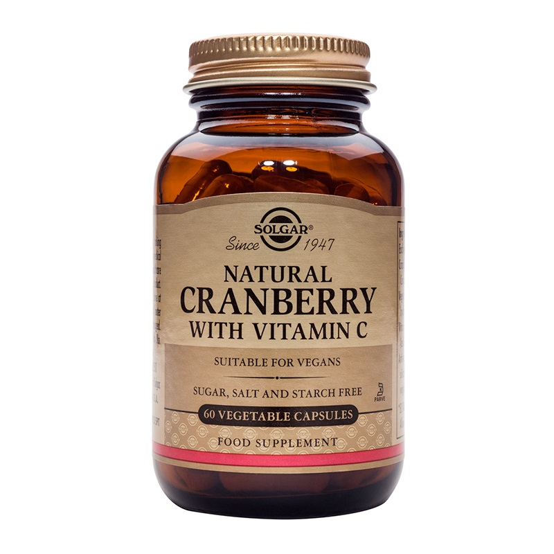 SOLGAR Natural Cranberry With Vitamin C - 60veg.caps