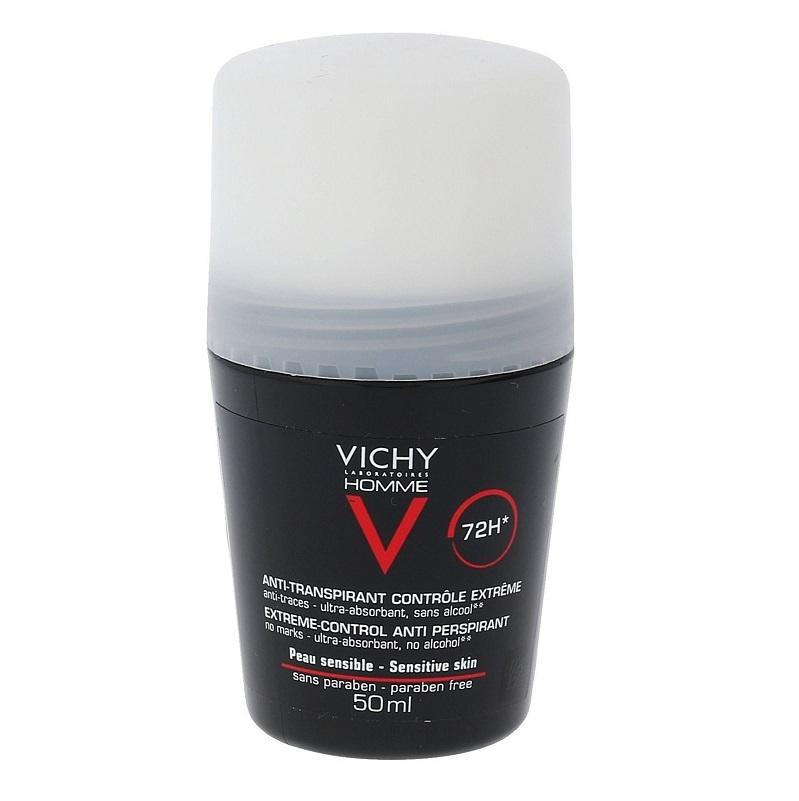 VICHY Homme Deodorant Roll- On, Αποσμητικό Κατά Της Έντονης Εφίδρωσης 72h - 50ml