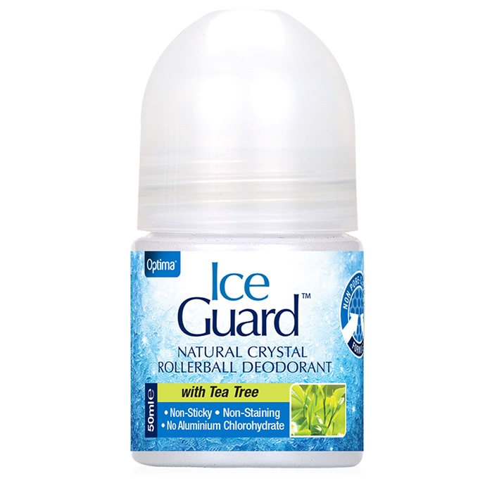 OPTIMA Ice Guard Natural Crystal Rollerball Deodorant, Tea Tree - 50ml
