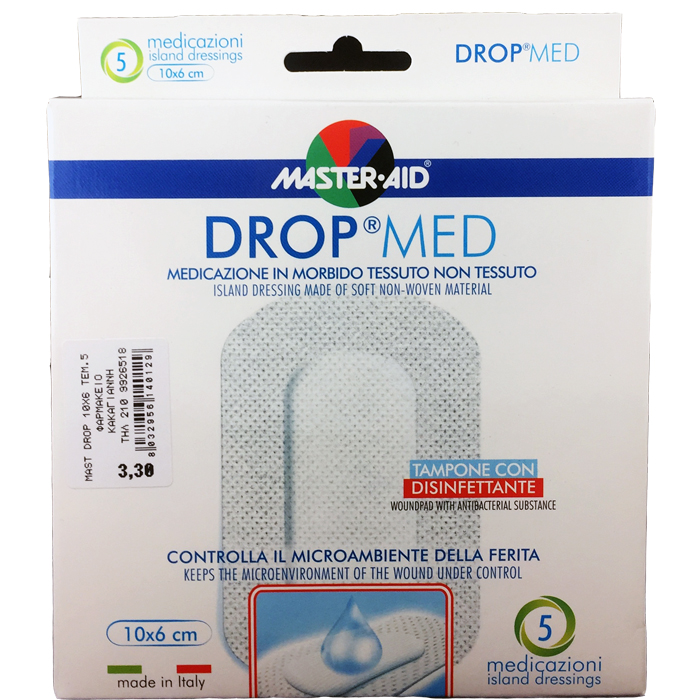 MASTER AID Drop Med Αντικολλητικές Αυτοκόλλητες Γάζες 10X6 5τμχ