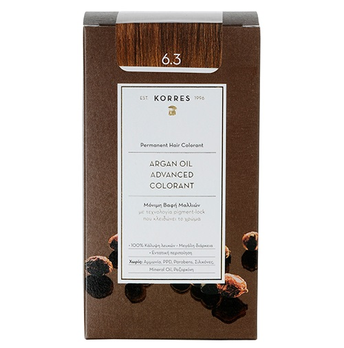 KORRES Βαφή Argan Oil 6.3 Ξανθό Σκούρο Μελί - 50ml