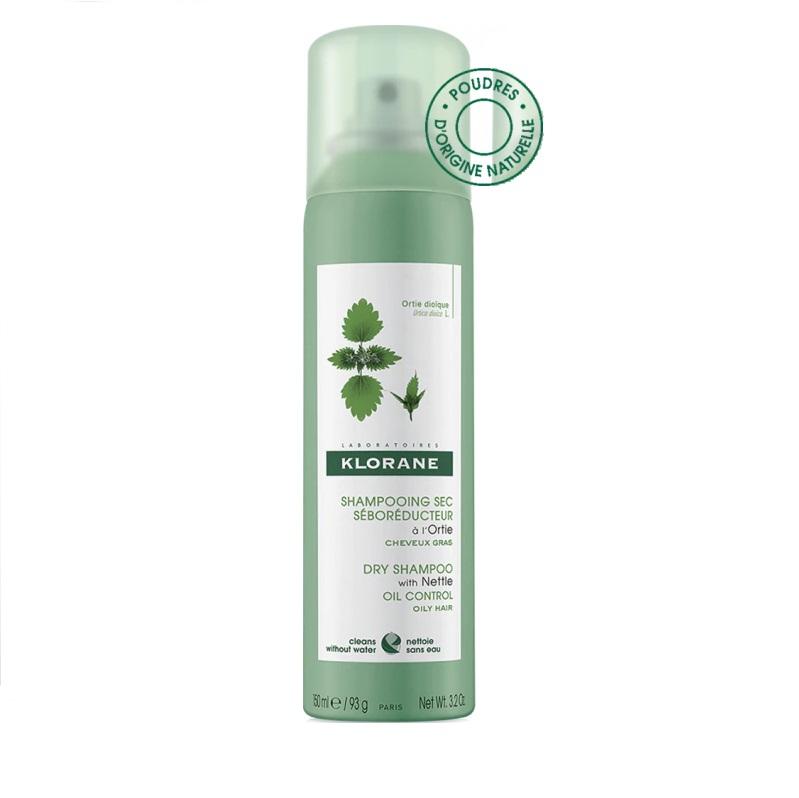 KLORANE Dry Shampoo Ortie, Ξηρό Σαμπουάν Spray με Εκχύλισμα Τσουκνίδας για Λιπαρά Μαλλιά - 150ml