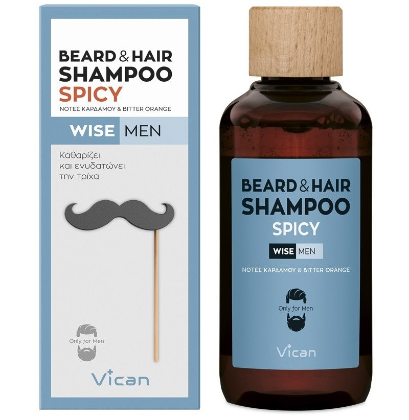 VICAN Wise Men Beard & Hair Shampoo, Spicy - 200ml