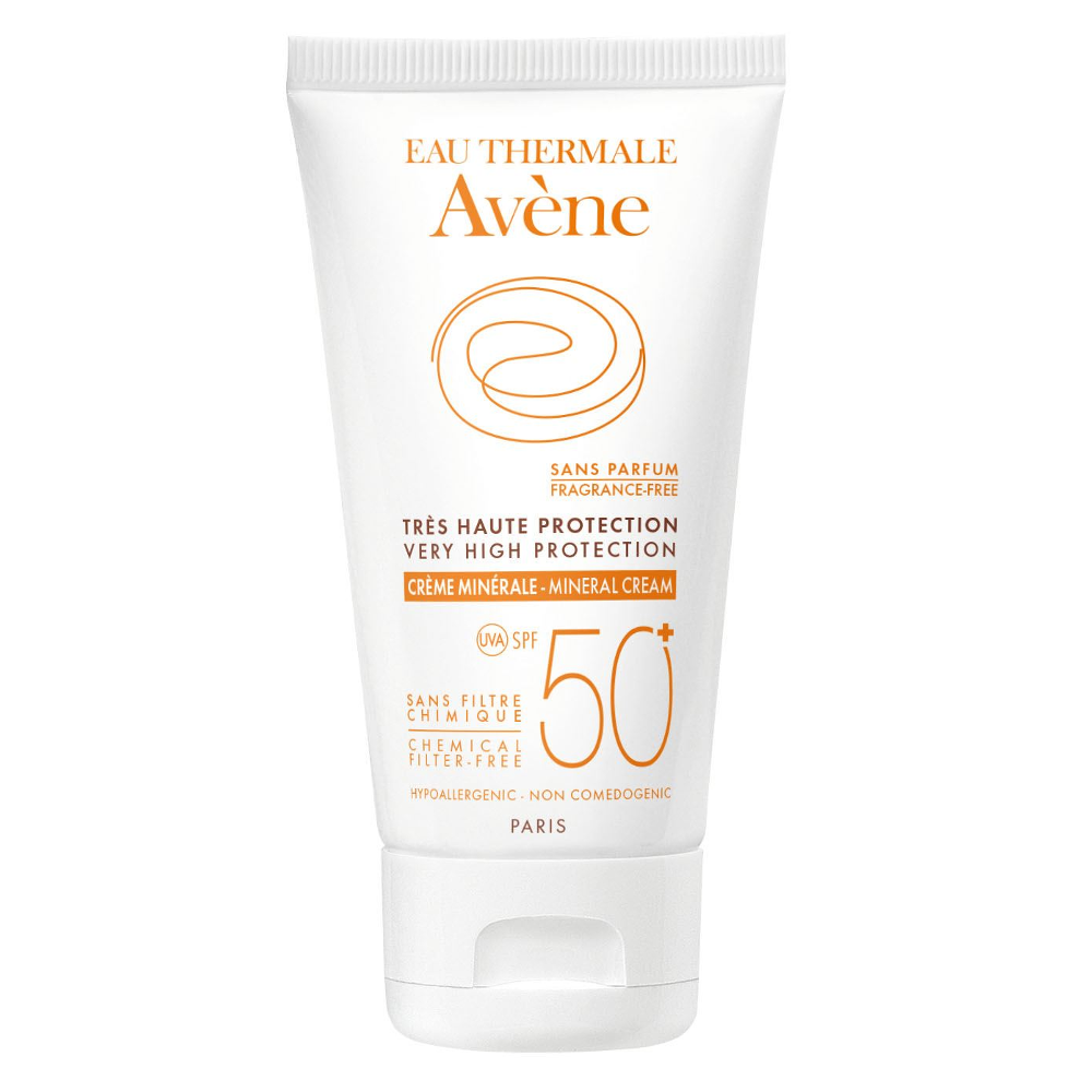 AVENE Creme Minerale Sans Parfum - Αντηλιακή Κρέμα SPF50+ Χωρίς Άρωμα για Μη Ανεκτικό Δέρμα - 50ml