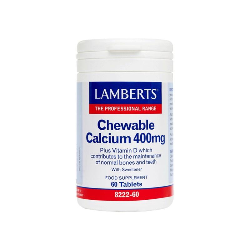 LAMBERTS Chewable Calcium 400mg, Ασβέστιο με Βιταμίνη D - 60 μασώμενα δισκία