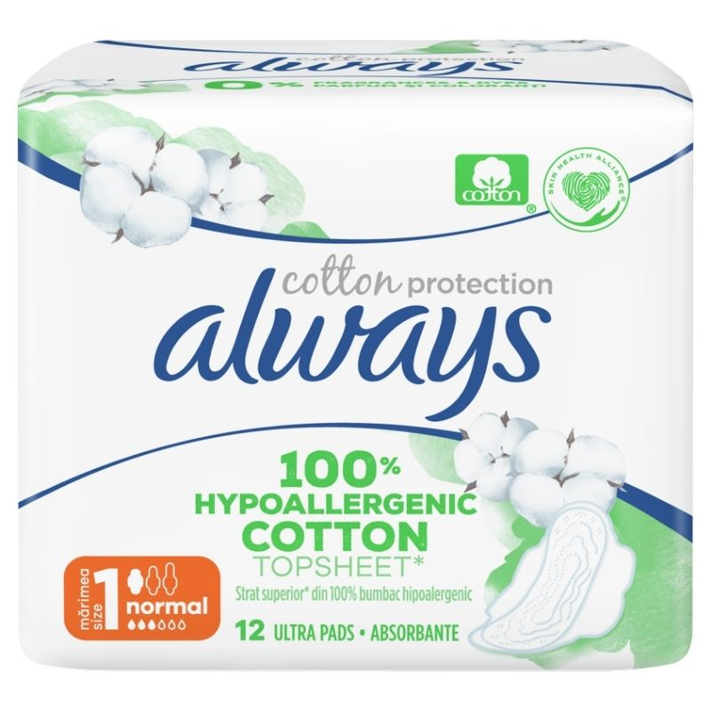 ALWAYS Cotton Protection Size 1 Normal Σερβιέτες Με Φτερά  - 12τεμ