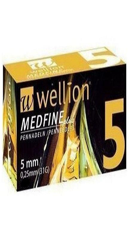 WELLION Βελόνες Πένας Ινσουλίνης Wellion Medfine plus 5mm 0,25mm (31G) - 50τεμ