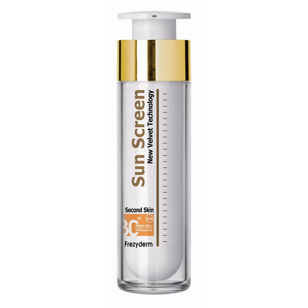 FREZYDERM Sun Screen Velvet Second Skin Face SPF30,  Αντηλιακή Κρέμα Προσώπου - 50ml
