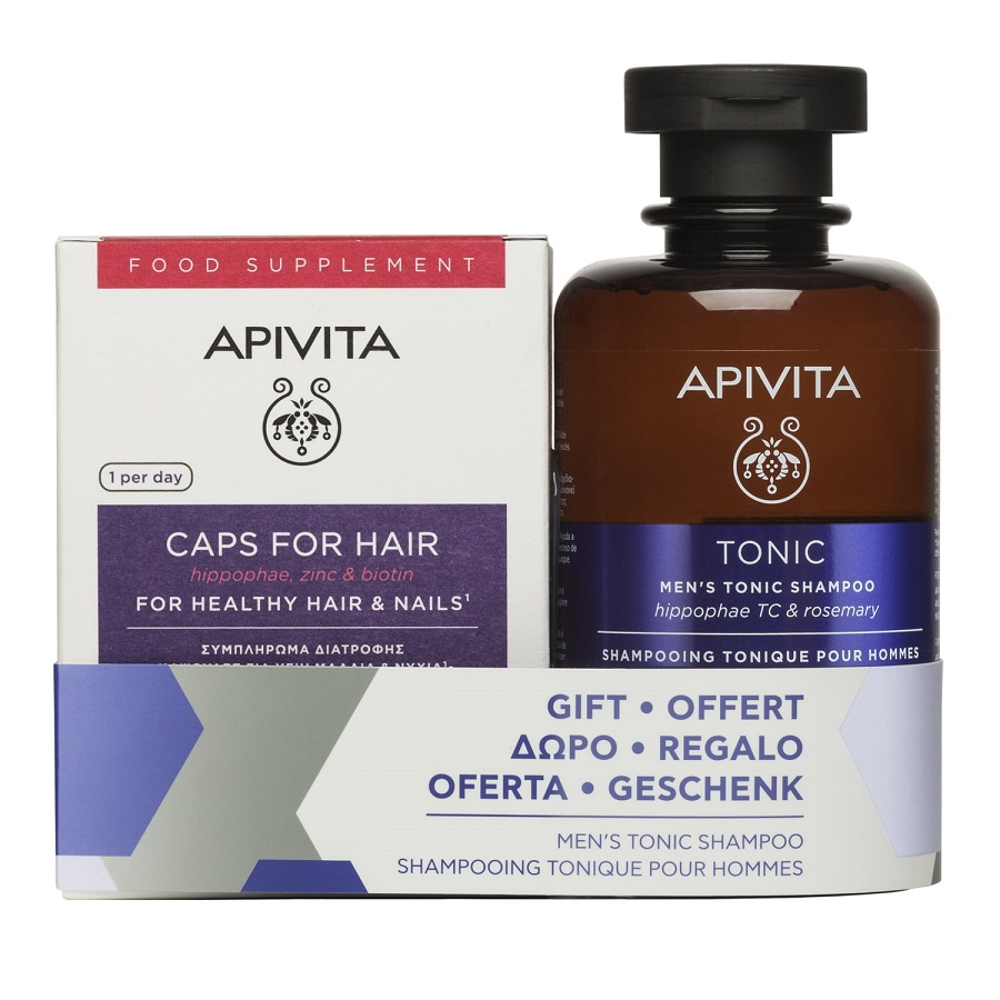 APIVITA  Healthy Hair & Nails - 30caps + Δώρο Mens Tonic Shampoo - 250ml