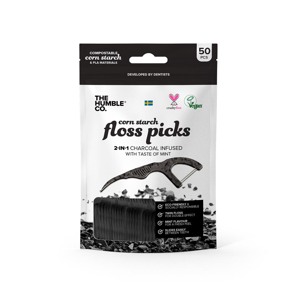 THE HUMBLE CO Dental Floss Picks, με Άνθρακα και Γεύση Μέντα - 50τεμ
