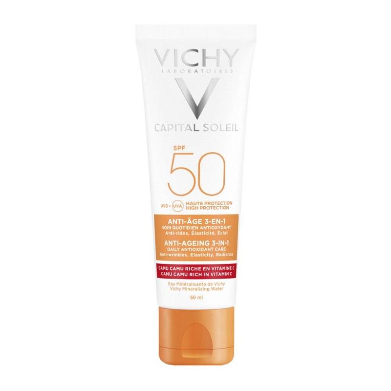 VICHY Ideal Soleil Αντιηλιακή Κρέμα Προσώπου 3 σε 1 Αντιγήρανση SPF50 - 50ml