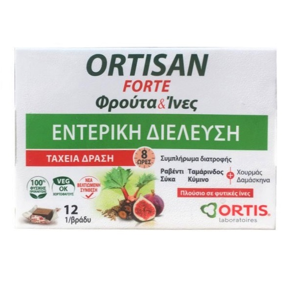 ORTIS Ortisan Forte Φρούτα & Ινες, Φυσικό Υπακτικό - 12 φρουτοκύβοι