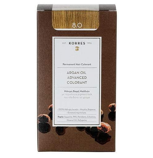 KORRES Βαφή Argan Oil 8.0 Ξανθό Ανοιχτό Φυσικό - 50ml