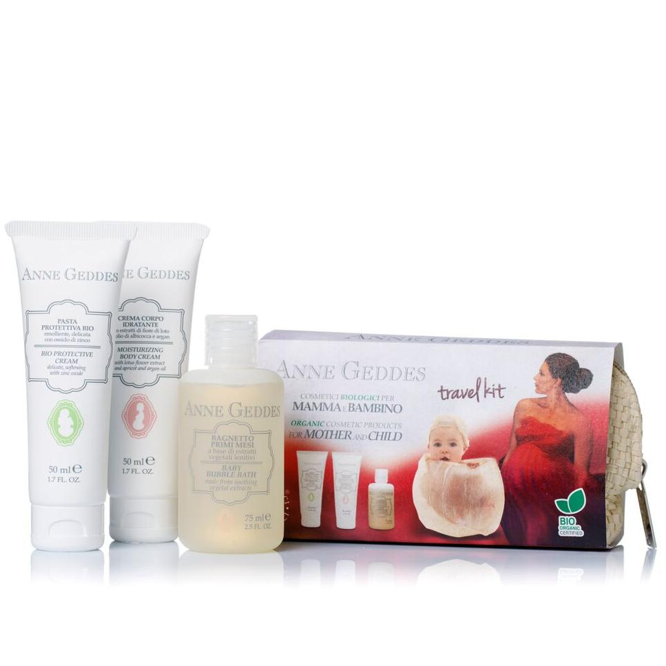 ANNE GEDDES Travel Kit BIO Κρέμα αλλαγής πάνας 50ml & Ενυδατική & Αναπλαστική κρέμα σώματος 50ml & Παιδικό Αφρόλουτρο 75ml
