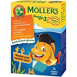 MOLLERS Omega-3  Zελεδάκια-Ψαράκια Με Γεύση Πορτοκάλι- Λεμόνι 36τμχ