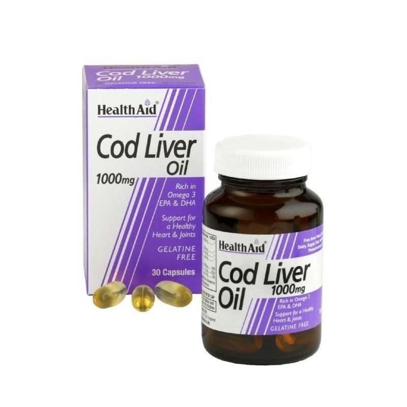 HEALTH AID Cod Liver Oil Μουρουνέλαιο 1000mg - 30caps