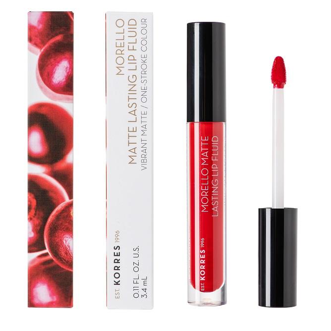 KORRES Morello Matte Lasting Lip Fluid, 53 Red Velvet - 3.4ml