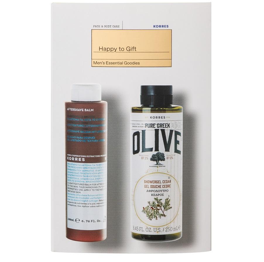 KORRES Σετ Αφρόλουτρο Pure Greek Olive - 250ml & Γαλάκτωμα για μετά το Ξύρισμα Calendula & Ginseng - 200ml