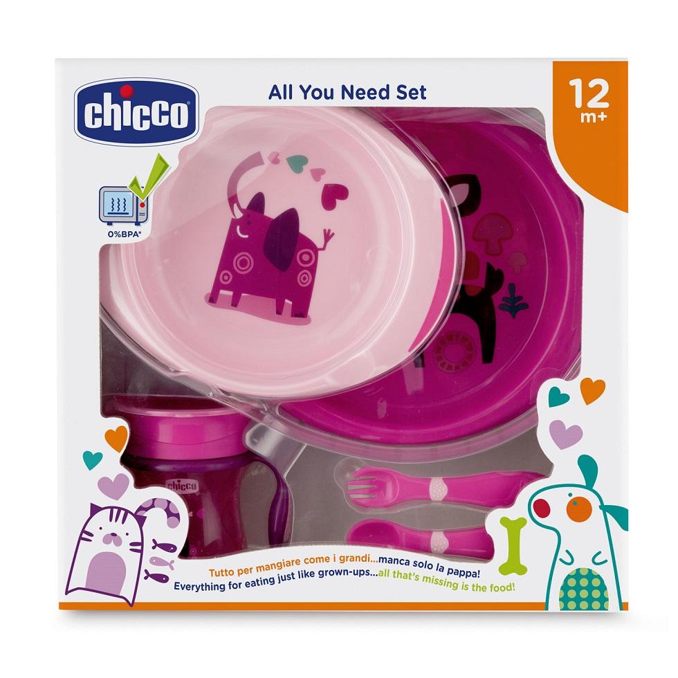 CHICCO All You Need Set, Σετ Φαγητού 12m+, Ροζ