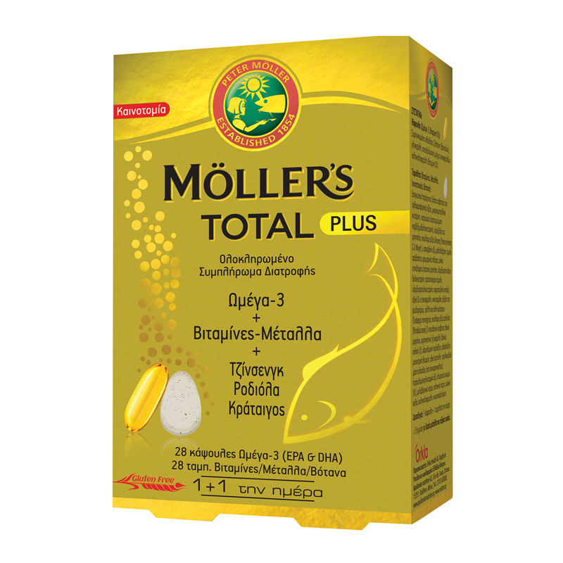 MOLLERS Total Plus, Ω3 & Βιταμίνες - Μέταλλα & Τζίνσενγκ, Ροδιολα, Κράταιγος - 28 Caps + 28 Tabs