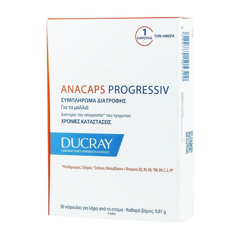 DUCRAY Anacaps Progressiv, Συμπλήρωμα Διατροφής για τα Μαλλιά - 30caps