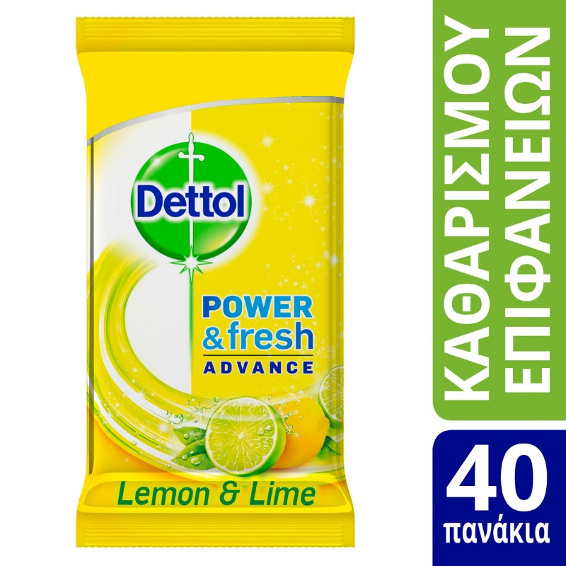DETTOL Αντισηπτικά Μαντηλάκια Καθαρισμού Επιφανειών, Άρωμα Λεμόνι - 40 τεμάχια