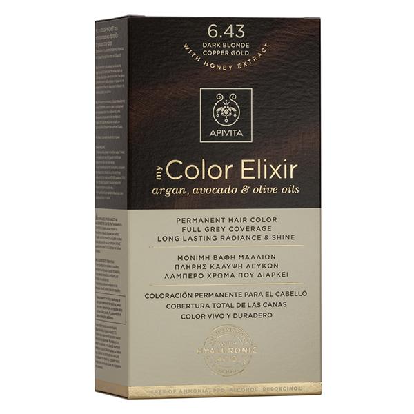 APIVITA My Color Elixir, Βαφή Μαλλιών No 6.43 Ξανθό Σκούρο Χάλκινο Μελί