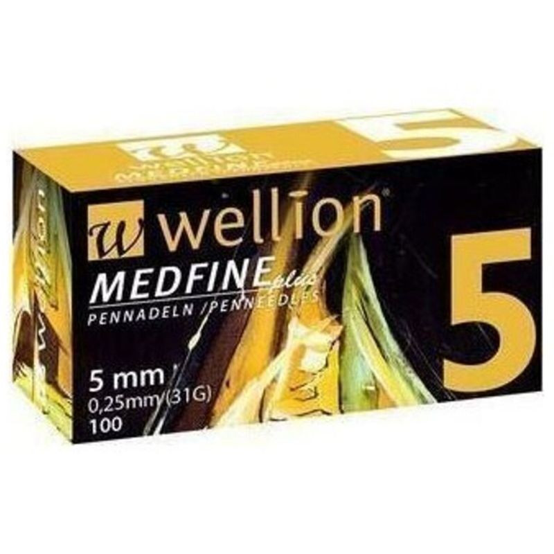 WELLION Βελόνες Πένας Ινσουλίνης Wellion Medfine plus 5mm 0,25mm (31G) - 100τεμ