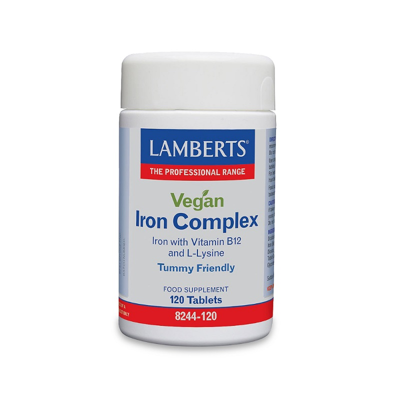 LAMBERTS Vegan Iron Complex, Φόρμουλα Σιδήρου και Β12 για Χορτοφάγους - 120tabs