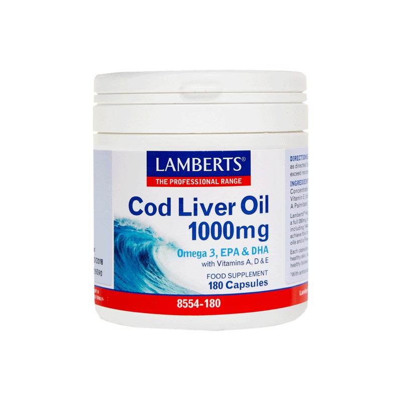 LAMBERTS Cod Liver Oil 1000mg, Μουρουνέλαιο - 180caps