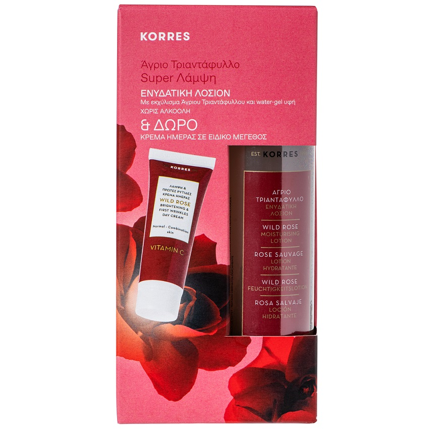 KORRES Set Άγριο Τριαντάφυλλο, Ενυδατική Λοσιόν - 150ml & ΔΩΡΟ Κρέμα Ημέρας Καν/Μικτ Δέρμα - 16ml