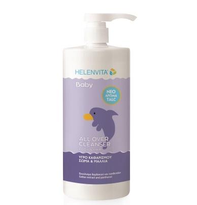 HELENVITA Baby All Over Cleanser Perfume Talv, Βρεφικό Απαλό Σαμπουάν & Αφρόλουτρο Άρωμα Τάλκ - 1lt
