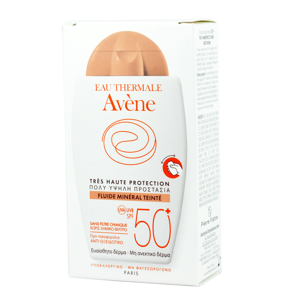 AVENE Fluide Mineral Teinte SPF50+, Αντηλιακό Προσώπου για Μη Ανεκτικό Δέρμα - με Χρώμα - 40ml