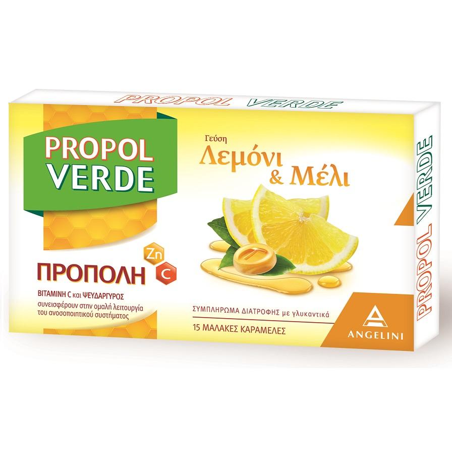 ANGELINI Propol Verde, Καραμέλες Λεμόνι & Μέλι - 15τεμ