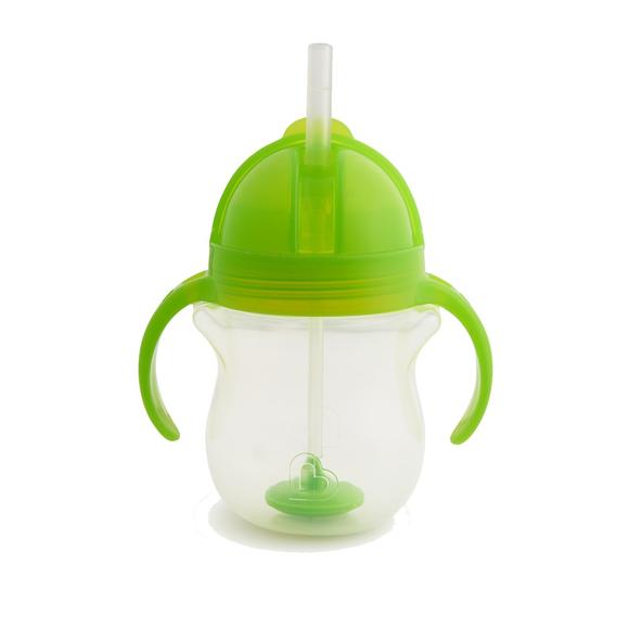 MUNCHKIN Tip & Sip Straw Cup Ποτήρι με Καλαμάκι & Βαρίδι που δε Χύνετα, Πράσινο - 207ml