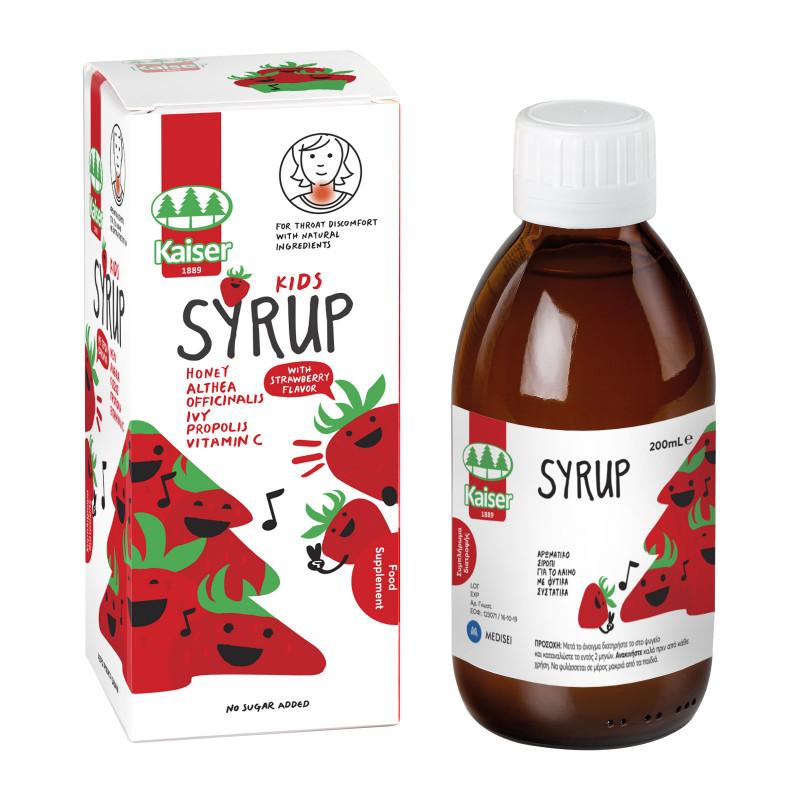 KAISER Kids Syrup, Σιρόπι Λαιμού για Παιδιά, Φράουλα - 200ml